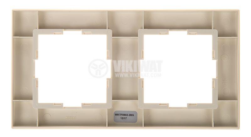 Double frame, Panasonic, horizontal, 81x154mm, beige, WKTF0802-2BG - 4