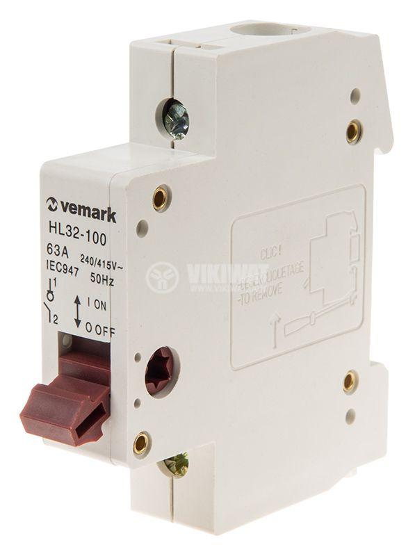 Прекъсвач разединителен еднополюсен ключ 400V 1x63A HL32-100 DIN 4kA max - 1