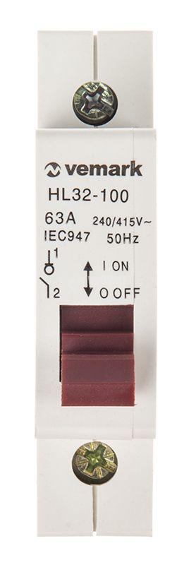 Прекъсвач разединителен еднополюсен ключ 400V 1x63A HL32-100 DIN 4kA max - 2