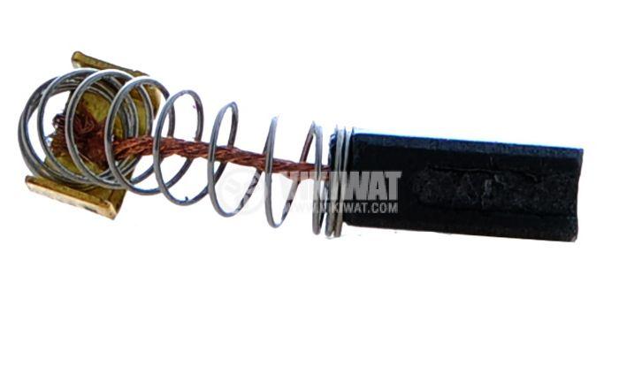 Четка въглено-графитна, SG-06-047-88, 5x8x12 mm, с централен извод, пружина и П-образен накрайник - 2