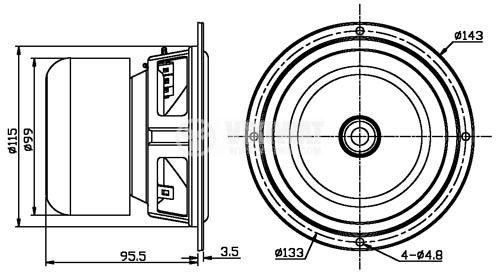Loudspeaker BG5N Bass-Midrange  35W, 8 Ohm - 7