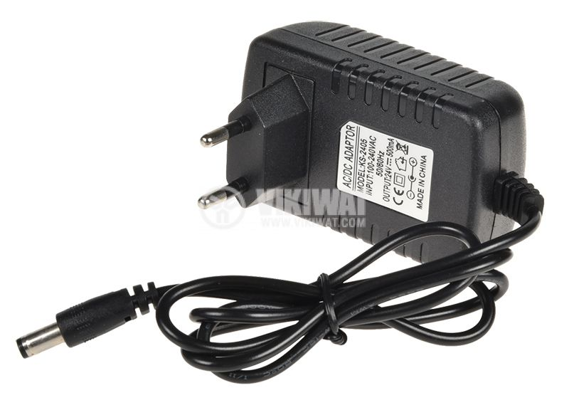 Adapter, 100-240VAC, 24VDC, 0.5A, 5.5x2.5mm, stabilized - 1