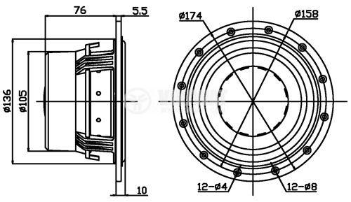 """Low frequency loudspeaker, HiVi, D6.8, 8Ohm, 60W, 6"""" - 4"""