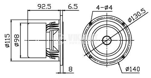 """Low frequency loudspeaker HiVi F5Ba, 8Ohm, 35W, 5.1"""" - 4"""