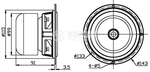 Bas-midrange MY5N, 35W, 8 ohm, f143x91 mm - 4