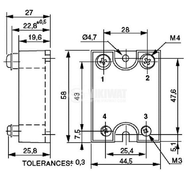 Phase regulator, TGR25, 470 kOhm, capacity 25A / 380VAC - 2