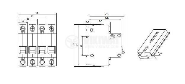 Предпазител автоматичен, триполюсен, 3x6A, E63N FR, C крива, DIN шина - 3