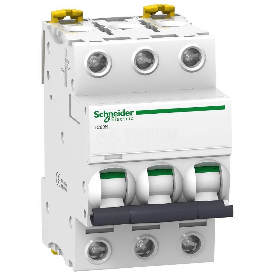 Автоматичен прекъсвач 3x6A, Schneider iC60N, C крива, DIN шина, A9F74306   - 1