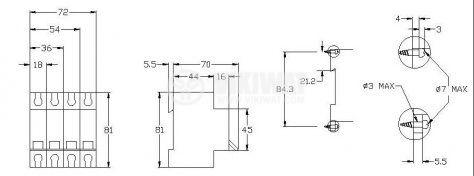 Предпазител автоматичен, триполюсен, 3x10A, E63N FR, C крива, DIN шина - 2