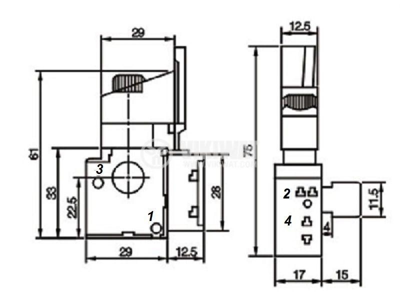 Електрически прекъсвач (ключ), регулатор на обороти и реверс за ръчни електроинструменти  F8-5/1BEK 6A/250VAC - 3