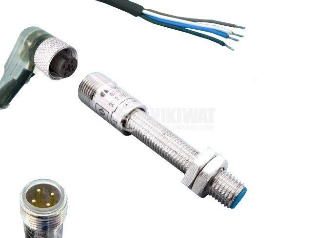 Индуктивен датчик T-LJ8A3-1-Z/CYG с куплунг 10-30VDC PNP  NO+NC M8x40mm, обхват 1mm, екраниран