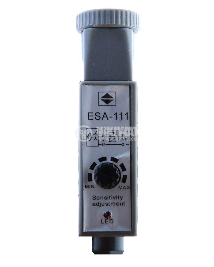 Оптичен датчик цветен маркер червен ESA-111 NPN NO+NC 10-36VDC обхват 10mm - 3