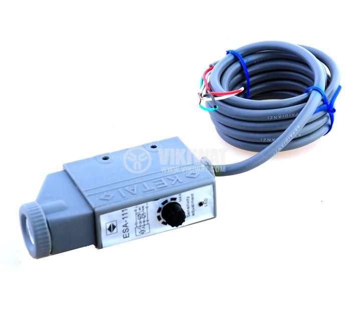 Оптичен датчик цветен маркер червен ESA-111 NPN NO+NC 10-36VDC обхват 10mm - 4