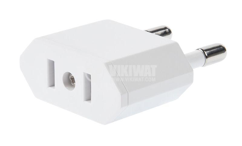 Travel adapter, USA 2pin contact to Europe 2 pin Schuko - 2