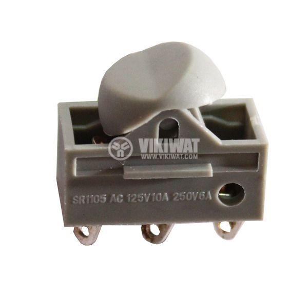 Клавишен превключвател rocker MRS-102-6, 6 A/250 VAC, 12 A/125 VAC, ON-ON, SPDT, сив - 1