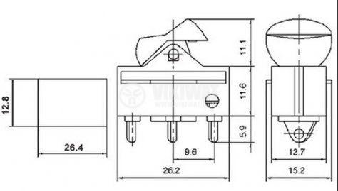 Клавишен превключвател rocker MRS-102-6, 6 A/250 VAC, 12 A/125 VAC, ON-ON, SPDT, сив - 2