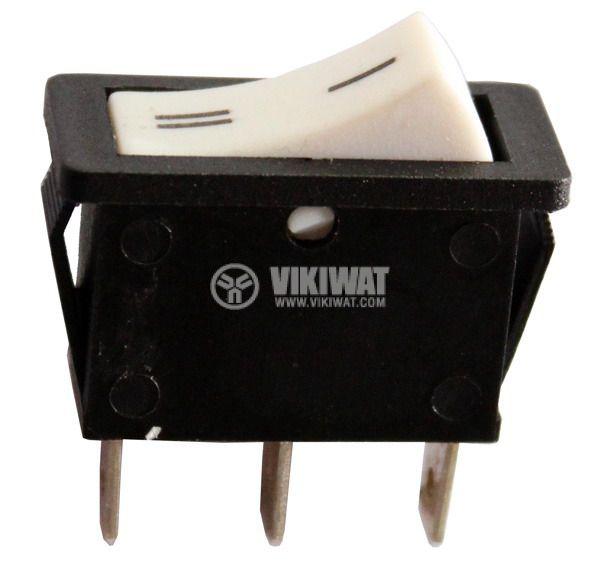 Клавишен превключвател rocker  RS-102-6C ,15 A, 250 VAC, ON-ON, SPDT, бял - 1
