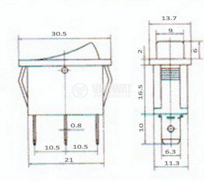 Клавишен превключвател rocker  RS-102-6C ,15 A, 250 VAC, ON-ON, SPDT, бял - 2