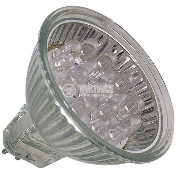 LED лампа, GU5.3, 1W, 12VAC/DC, зелена, 18LEDs