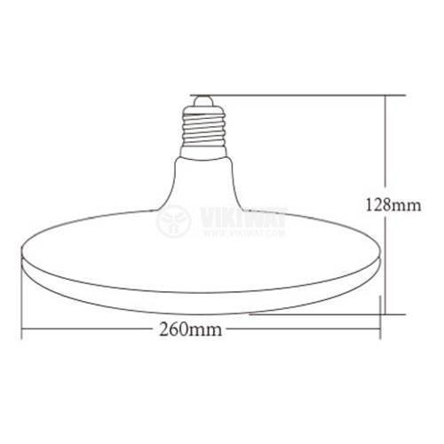 LED лампа 32W, E27, 2500lm, 6500K, студено бяла, BB01-13223, черен корпус - 2