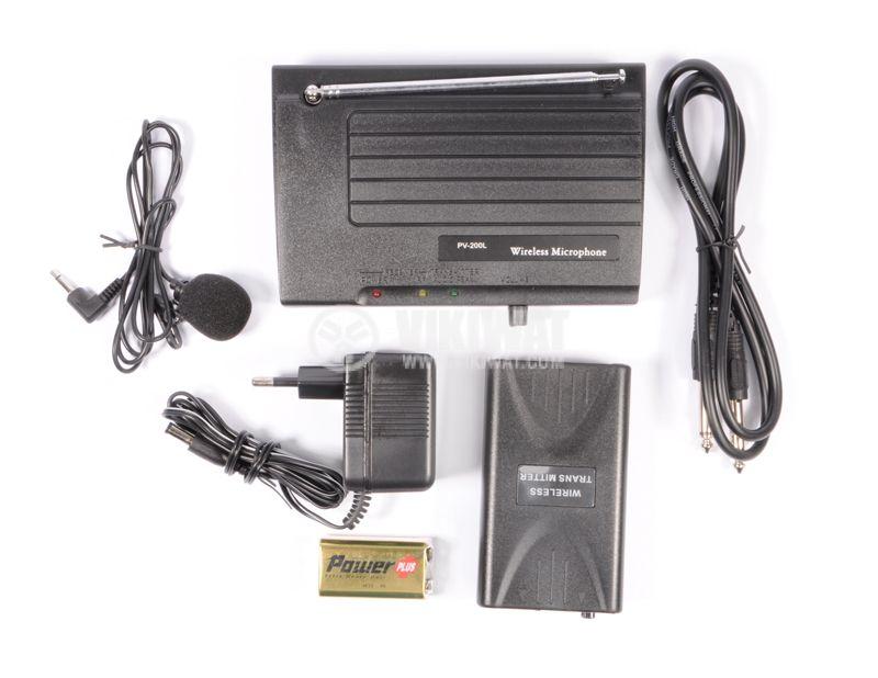 """Микрофон PV-200L, тип """"брошка"""", безжичен, 9V, 90dB, 200mA - 1"""