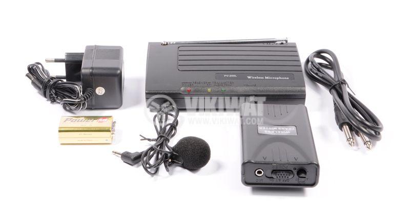 """Микрофон PV-200L, тип """"брошка"""", безжичен, 9V, 90dB, 200mA - 2"""