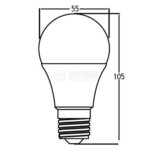 LED лампа 5W, E27, 220VAC, 480lm, 6500K, студено бяла, BA13-00523 - 2