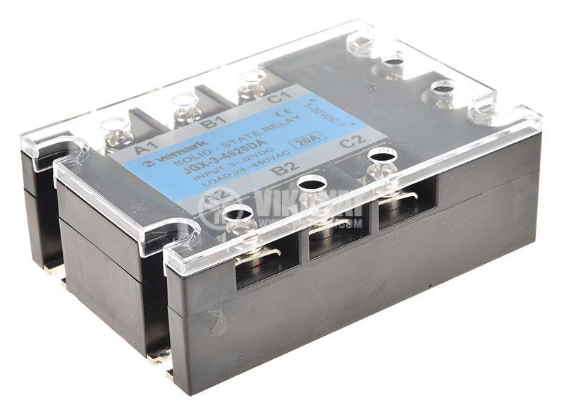 Солид стейт реле, SSR3-20B, трифазно, полупроводниково, 3-32VDC, товароносимост 20A/480VAC - 1
