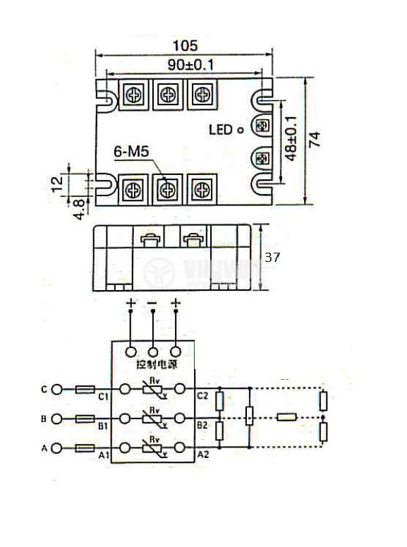 Solid State Relay SSR3-20B 3-32VDC 20A/480VAC - 2