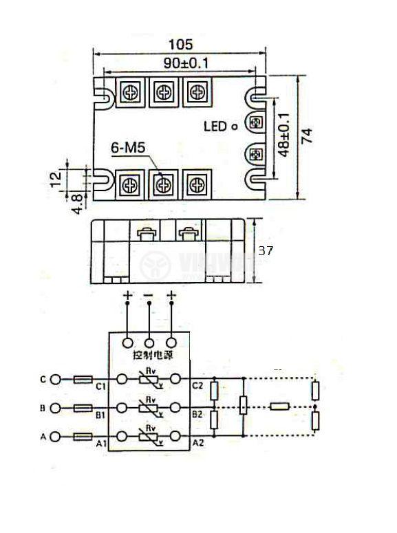Солид стейт реле, SSR3-20B, трифазно, полупроводниково, 3-32VDC, товароносимост 20A/480VAC - 2