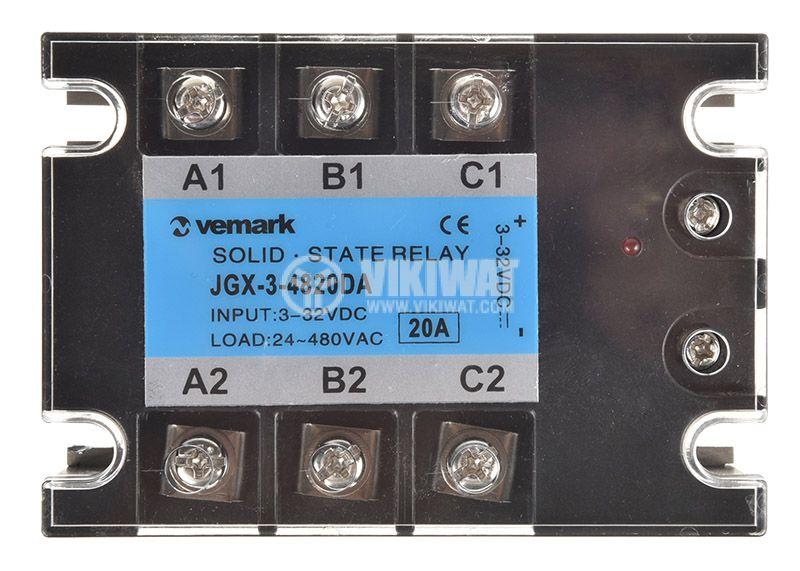Солид стейт реле, JGX-3-4820DA, трифазно, полупроводниково, 3-32VDC, товароносимост 20A/480VAC - 3