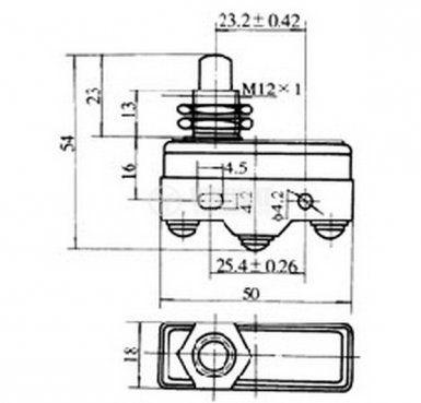 Краен изключвател, LXW5-11M, SPDT-NO+NC, 15A/480V, щифт - 2