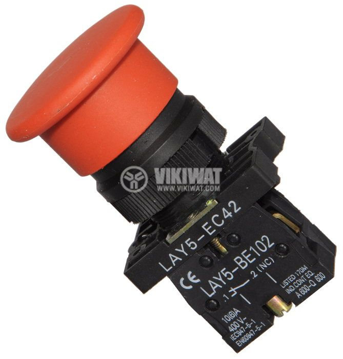Button Switch LAY5-EC42 400 VAC / 10A SPST-NC red - 1