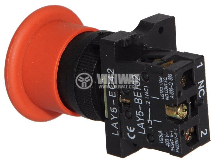 Button Switch LAY5-EC42 400 VAC / 10A SPST-NC red - 2
