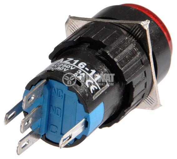 Бутон светещ тип RAFI LAZ16-11 24VAC/DC SPDT - NO+NC червен - 3