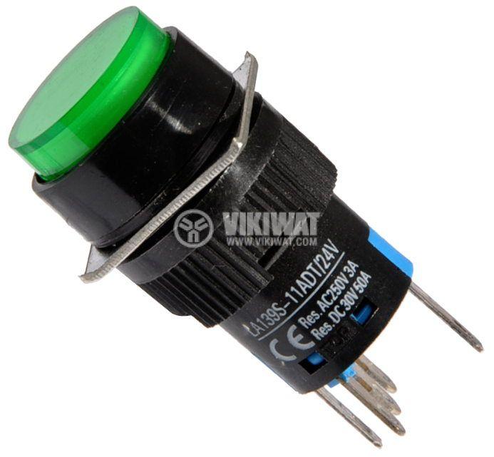 Бутон светещ тип RAFI LA139S-11ADT 24VAC/DC SPDT - NO+NC зелен - 1