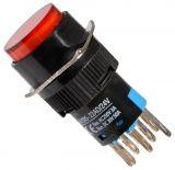 Бутонен превключвател, бутон, ON - (ON), отвор ф16, 3A/250VAC, DPDT