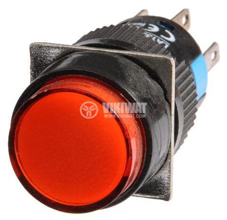 Бутон светещ тип RAFI LA139S-22ADT 24VDC 2PDT - 2NO+2NC червен - 2