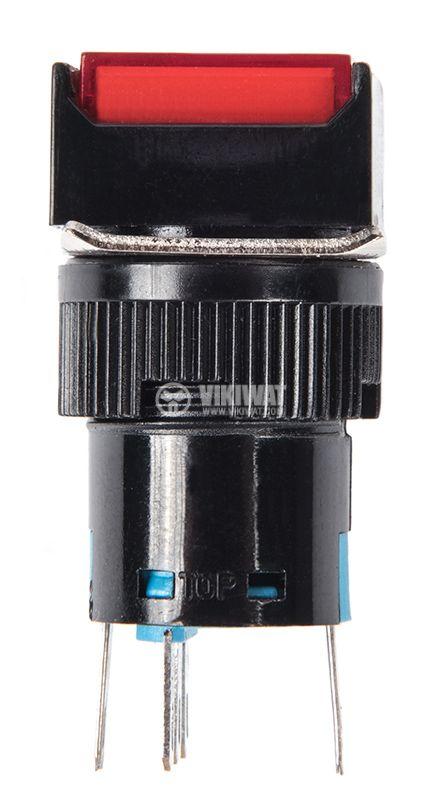 Бутонен превключвател, бутон, ON - (ON), отвор ф16, 3A/250VAC, SPDT - 3