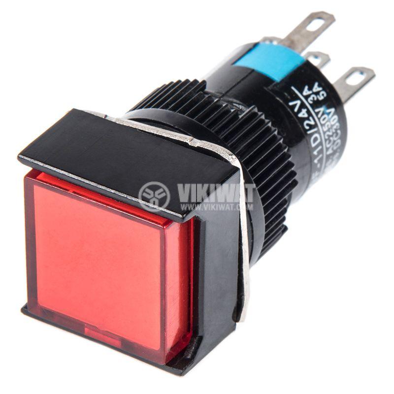 Бутонен превключвател, бутон, ON - (ON), отвор ф16, 3A/250VAC, SPDT - 1