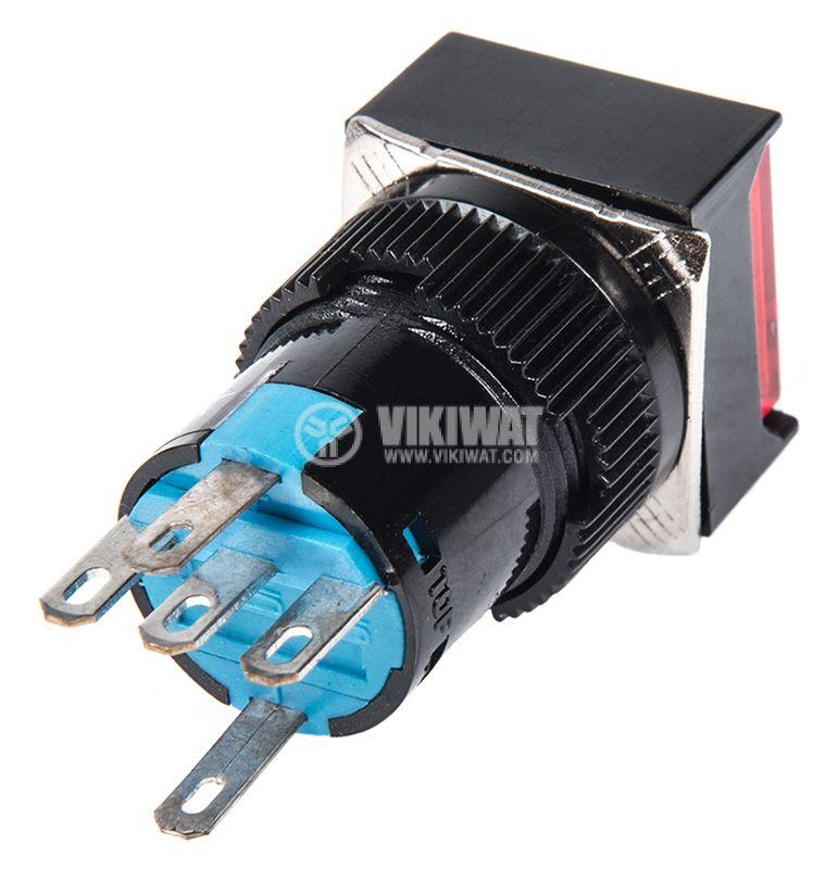 Бутонен превключвател, бутон, ON - (ON), отвор ф16, 3A/250VAC, SPDT - 4