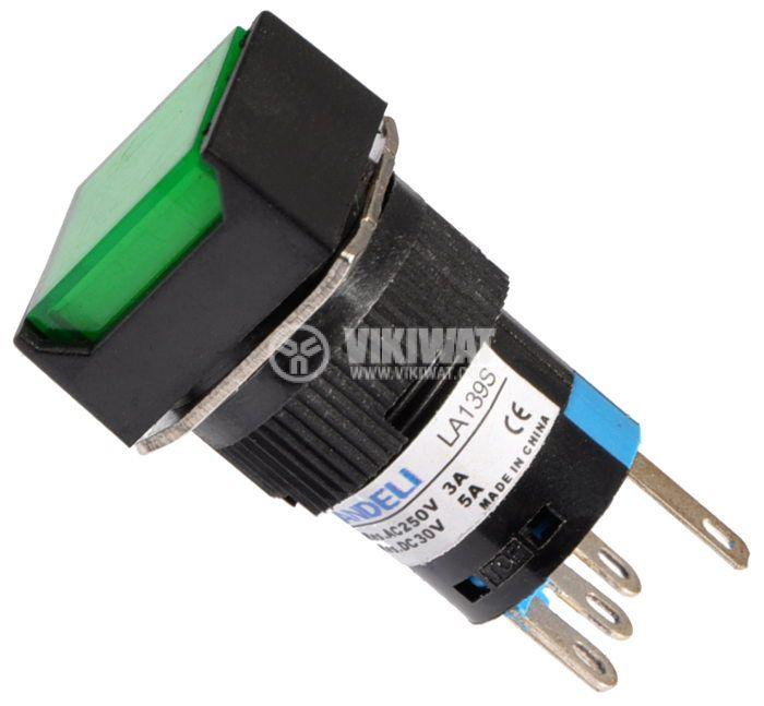 Button Light Switch type RAFI LA139S 24VAC/DC SPDT - NO+NC green - 1
