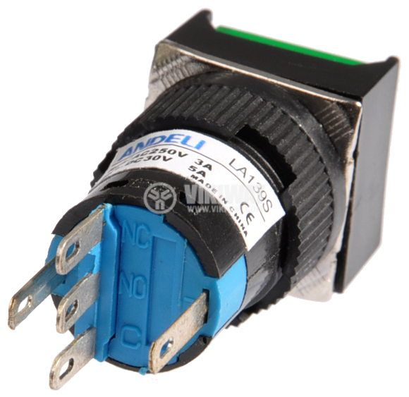 Button Light Switch type RAFI LA139S 24VAC/DC SPDT - NO+NC green - 3