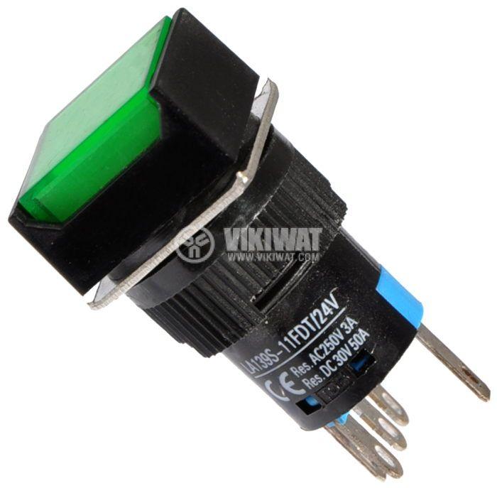 Бутон светещ тип RAFI LA139S-11FDT 24VAC/DC SPDT - NO+NC зелен - 1