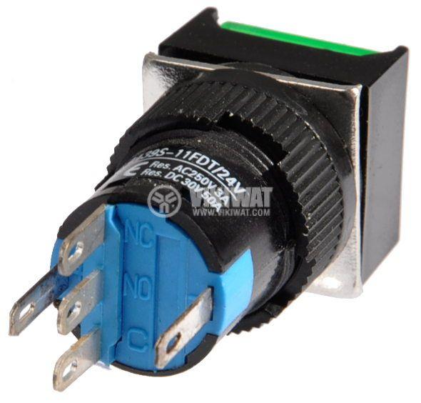 Бутон светещ тип RAFI LA139S-11FDT 24VAC/DC SPDT - NO+NC зелен - 3