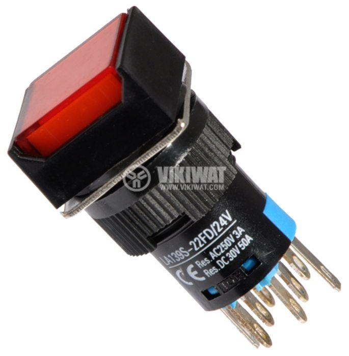 Бутон светещ тип RAFI LA139S-22FD 24VAC/DC 2PDT - 2NO+2NC червен - 1