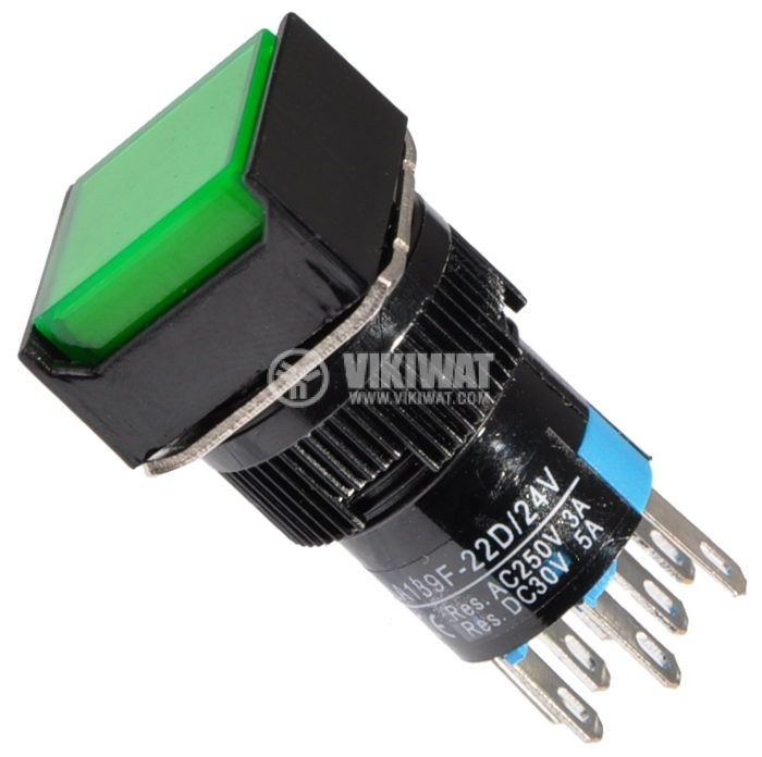 Бутон светещ тип RAFI LA139F-22D 24VAC/DC 2PDT - 2NO+2NC зелен - 1