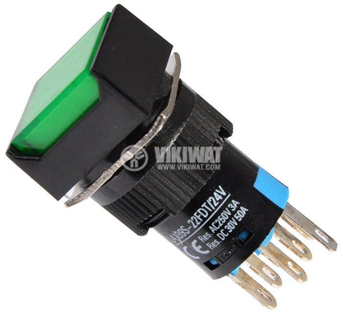 Button Light Switch type RAFI LA139S-22FDT 24VAC/DC 2PDT - 2NO+2NC green - 1