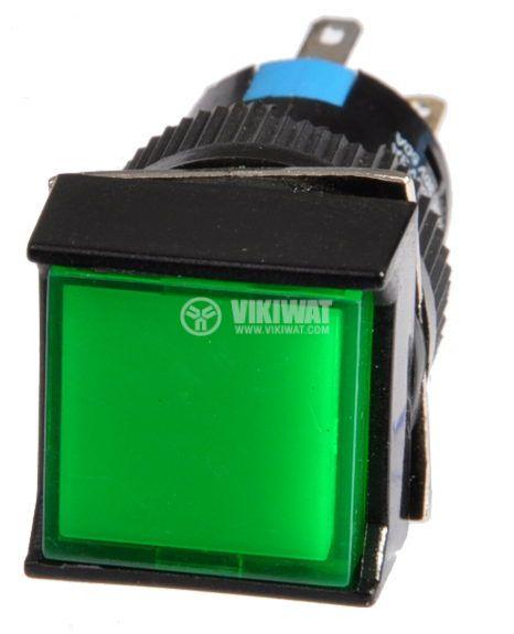 Button Light Switch type RAFI LA139S-22FDT 24VAC/DC 2PDT - 2NO+2NC green - 2