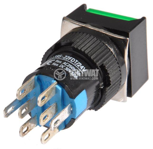 Button Light Switch type RAFI LA139S-22FDT 24VAC/DC 2PDT - 2NO+2NC green - 3